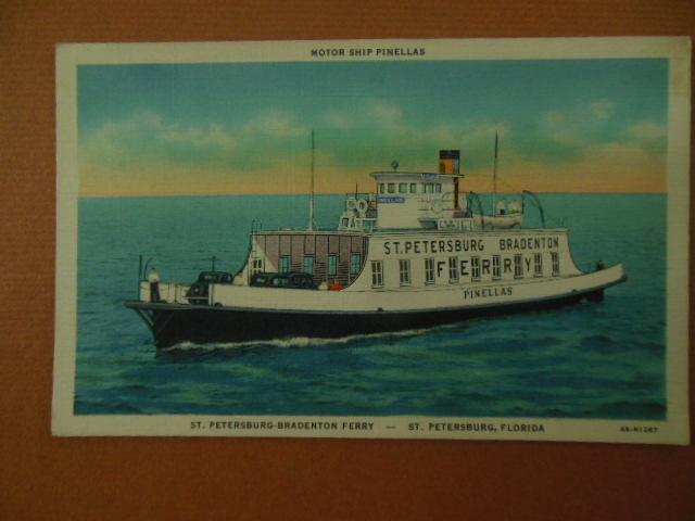 Image for St. Petersburg-Bradenton Ferry; Motor Ship Pinellas Postcard (Florida 1930's)
