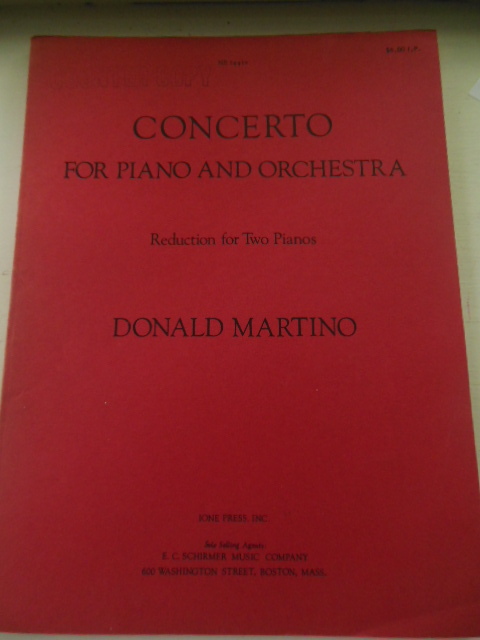Image for Concerto for Piano and Orchestra; Reduction For Two Pianos (Donald Martino 1971)