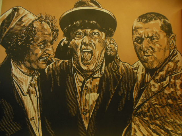 Image for Large Three Stooges Art Print(Shades of Brown and White)