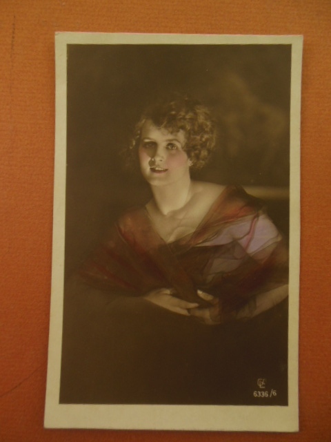 Image for Real Photo Tinted Postcard Blond German Woman in Evening Dress (6336/6) 1920