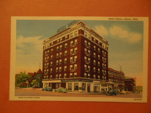Image for Hotel Akron Citizens Savings & Loan Linen Postcard (1940's)