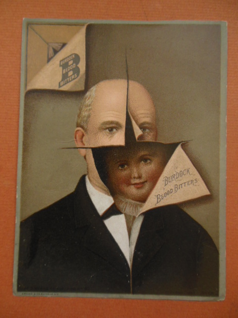 Image for Burdock Blood Bitters Trade Card (Man with Child in Head)