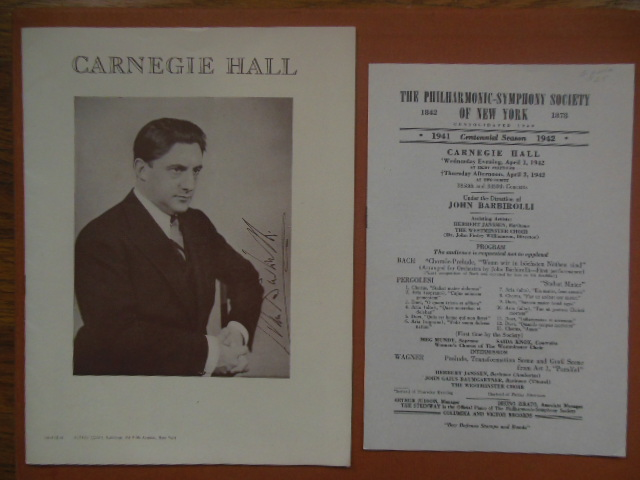Image for Carnegie Hall  Program; The Philharmonic Symphony Society of New York Program  (John Barbiolli Conductor 1941-42)