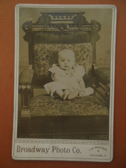 Image for Cabinet Card Baby in Antique Chair Broadway Photo Co. Cleveland, Ohio