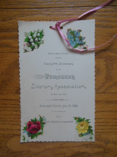 Invitation 25th Anniversary Pomorean Literary Society Scio College (Ohio 1893)
