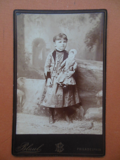Image for Cabinet Photo Little Girl Holding Doll (Louis Blaul)
