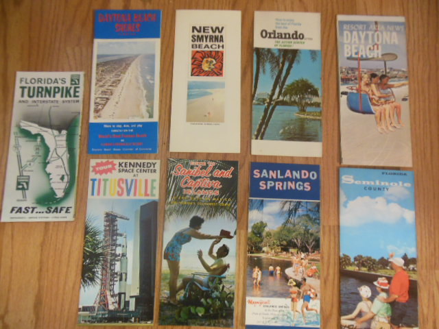 Image for Nine Florida Brochures Titusville, Sanibel and Captiva, Sanlando Springs, Seminole County, Daytona Beach Shores, New Smyrna Beach, Orlando, Daytona Beach, Florida Turnpike (1960's)