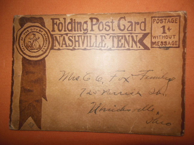 Image for Folding Postcard Nashville, Tennessee WWI Military Message, 1917