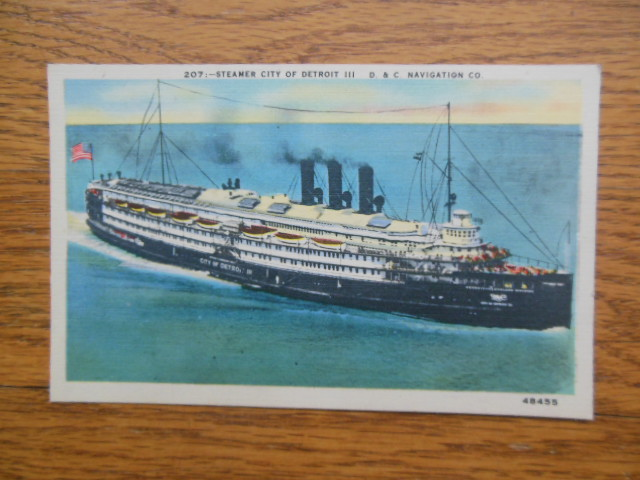 Image for Linen Postcard City of Detroit III Steamer