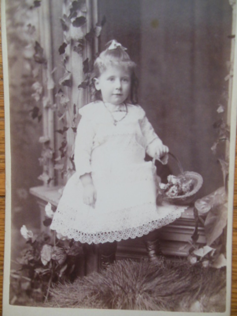 Image for Cabinet Card Little Girl with Flower Basket Sitting on Doorstep (Joshua Smith Studio, Chicago 1876-1886)