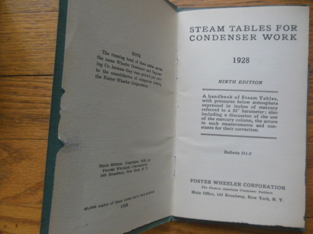 Image for Steam Tables for Condenser Work (Foster Wheeler Corporation, 1928)