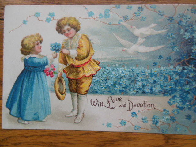 Image for Postcard Devotion and Love International Art Co.(Blue Flowers, Doves)