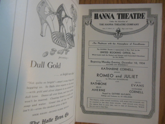 Image for Hanna Theatre Program Cleveland 1934 (Katherine Cornell insert laid-in)