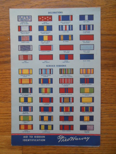 Image for Fred Harvey Restaurant Menu 1945 (Aid to Military Ribbon Identification)