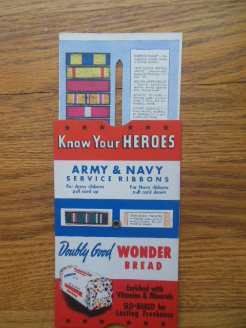 Image for Know Your Heroes Army & Navy Service Ribbons Wonder Bread WWII Pull-Card