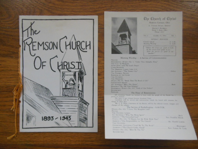 Image for The Remson Church of Christ 1893-1943 With Church Program (1942 Remson Corners, Ohio)