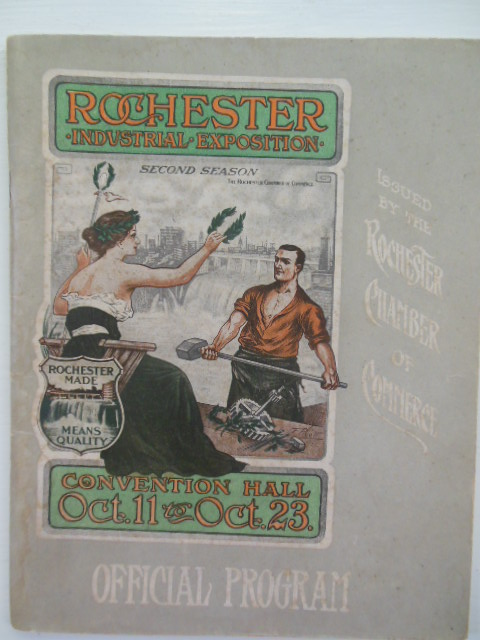 Image for Official Program of the Second Rochester Industrial Exposition Oct. 11-23, 1909 (Color Postcard Laid-in)