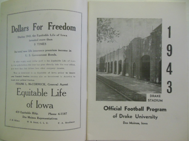 Image for Official Football Program Drake University vs. Iowa State College Saturday, November 13, 1943 (Homecoming)