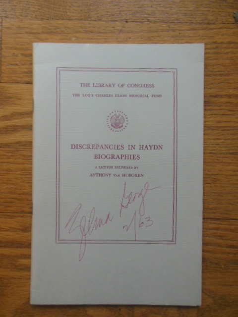 Image for Discrepancies in Haydn Biographies SIGNED by Zelma George (1962)
