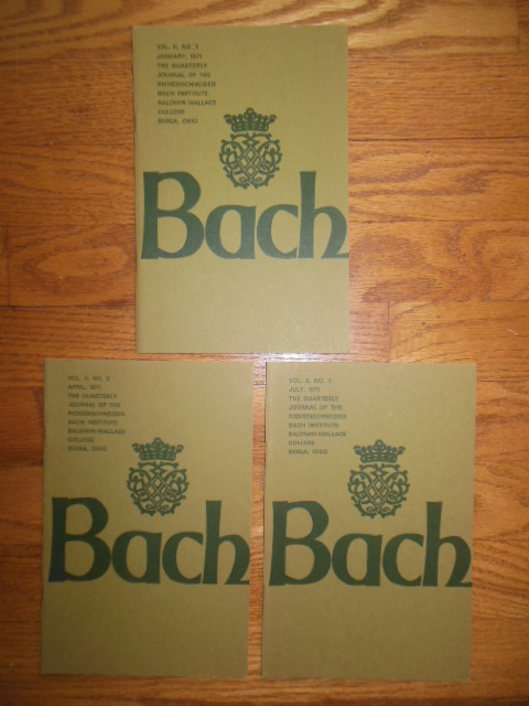 Image for Bach; The Quarterly Journal of the Riemenschneider Bach Institute (Baldwin Wallace College 1971 -- three issues)
