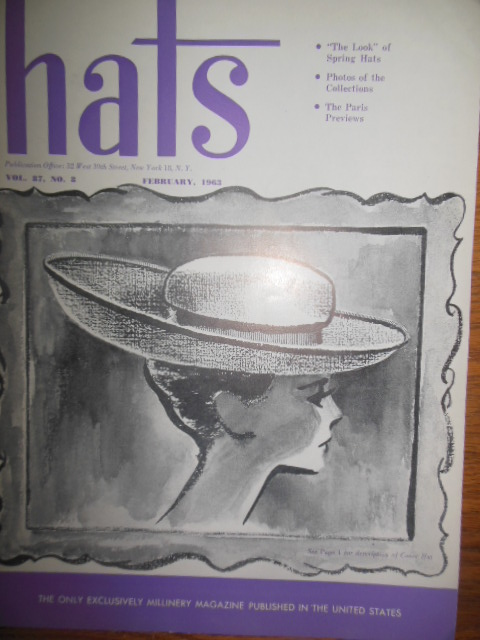 Image for Hats Magazine (Only Millinery Magazine in U.S. February, 1963)