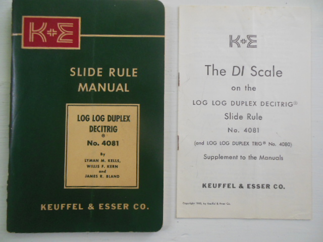Image for Keuffel & Esser Slide Rule Manual Log Log Decitrig No. 4081 (1955, Plus 1953 Supplement Laid-in))