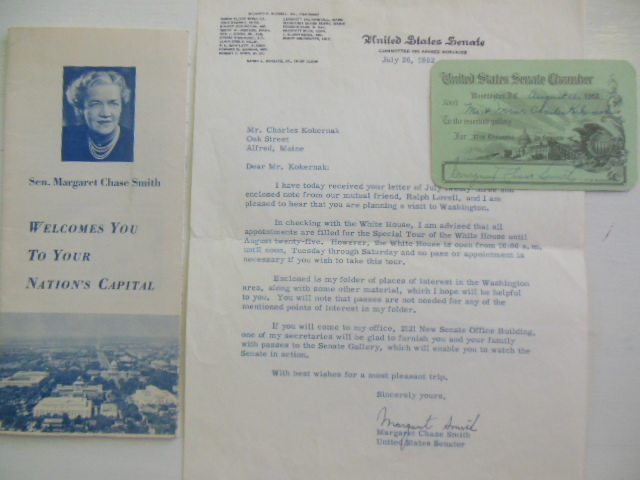Image for Senator Margaret Chase Smith Ephemera 1962 (SIGNED)