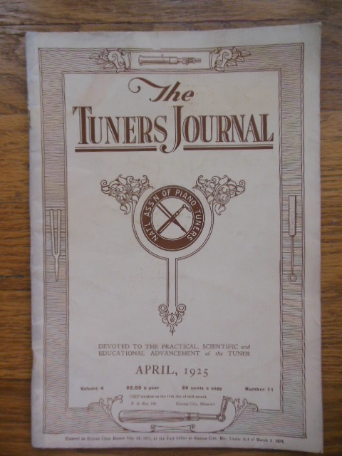 Image for The Tuners Journal April, 1925 (Magazine Piano Tuning)