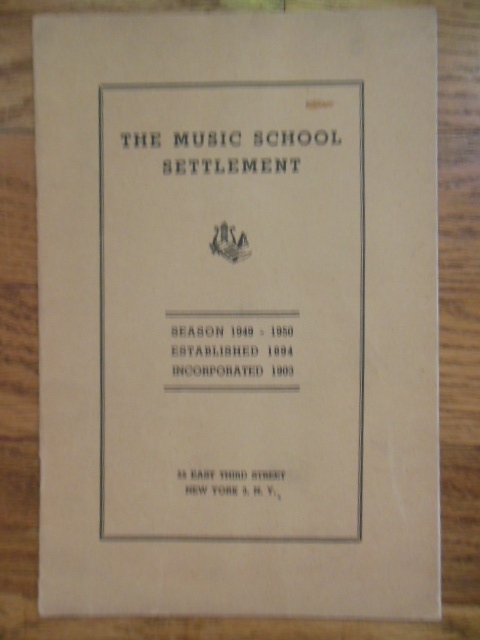 Image for Third Street Music Settlement Booklet, New York City 1949-1950 Season