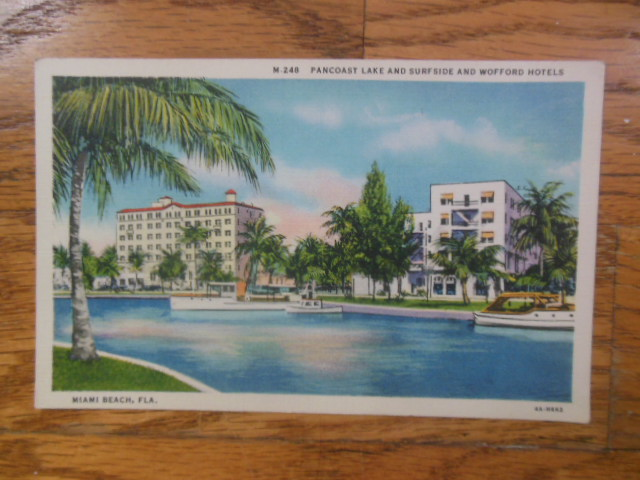 Image for Postcard Pancoast Lake and Surfside and Wofford Hotels (Miami Beach)