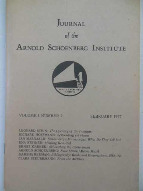 Image for Journal of the Arnold Schoenburg Institute February, 1977