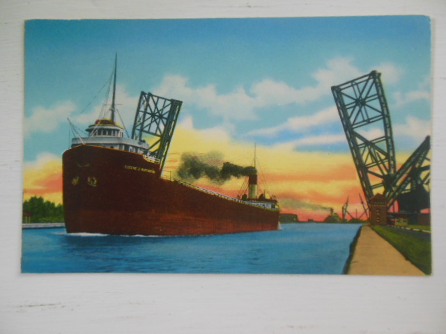 Image for Postcard Empty Freighter Passing Bascule Bridge Sault Ste. Marie, Michigan