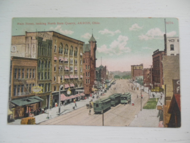 Image for Postcard Main Street Looking North From Quarry Akron, Ohio (1909)
