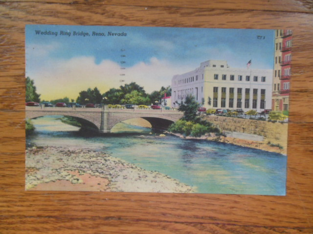 Image for Linen Postcard Wedding Ring Bridge, Reno, Nevada (1948)