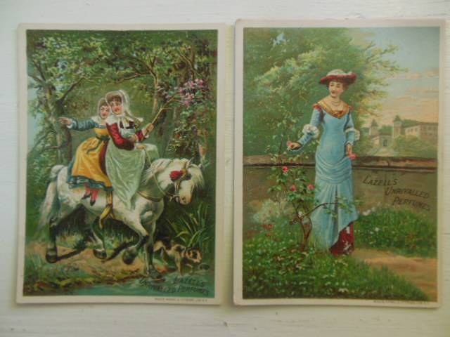 Image for Trade Cards Lazell's Unrivalled Perfumes (Girls on Horse, Lady in Blue)