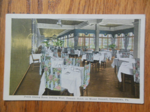Image for Postcard Porch Dining Room  Summit Hotel, Uniontown, PA