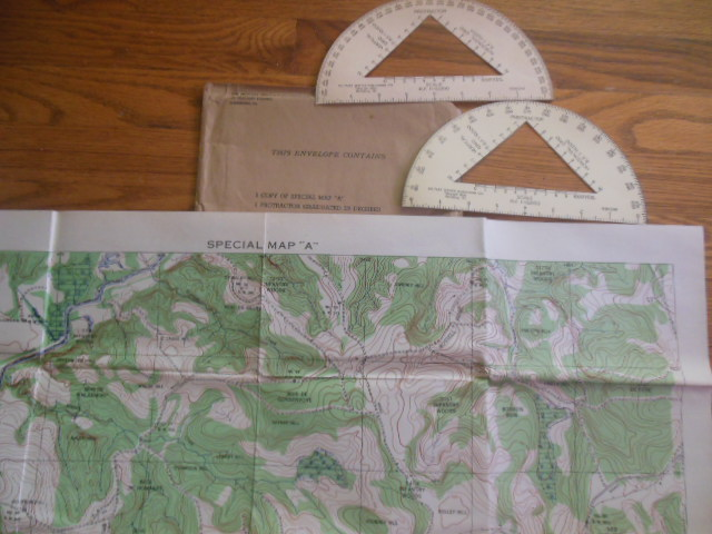 Image for Special Map A in Original Envelope with Protractors (ROTC, 1935)