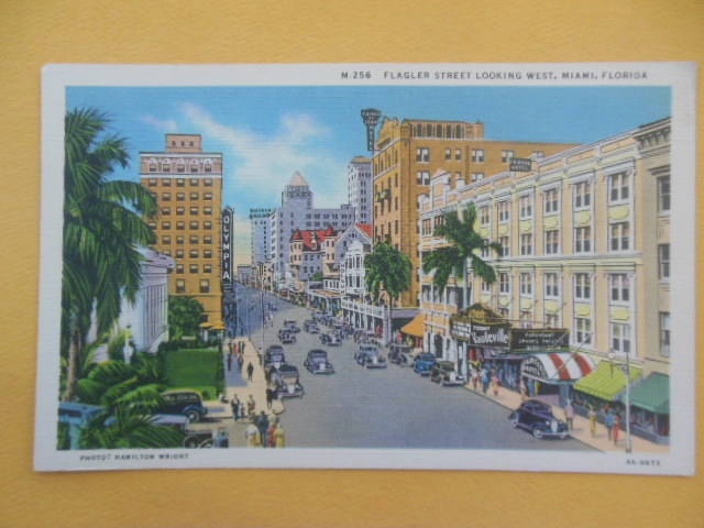 Image for Postcard Flagler Street Looking West, Miami, Florida (1930's)
