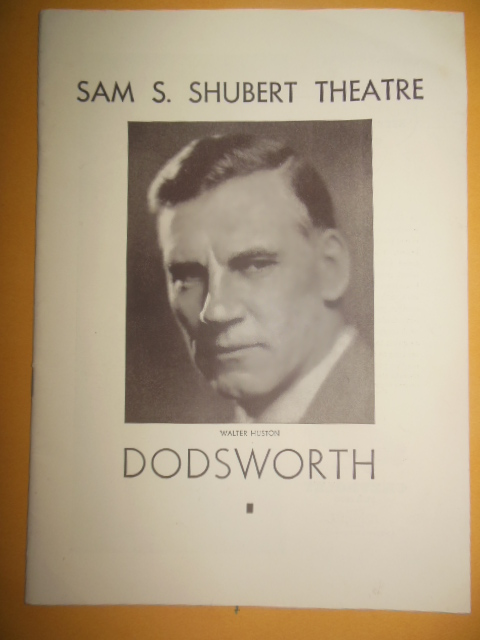 Image for Theatre Program Sam S. Schubert Theatre Dodsworth Walter Huston (1934)