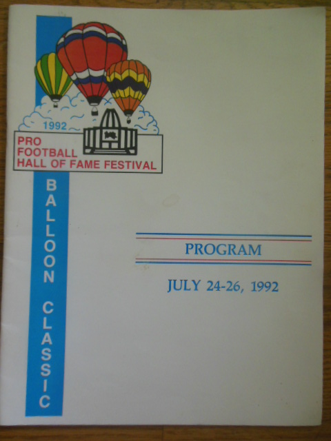 Image for Program Balloon Classic Pro Football Hall of Fame Festival (1992)