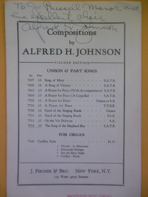Image for Compositions by Alfred H. Johnson SIGNED 1940 (Church organ music)