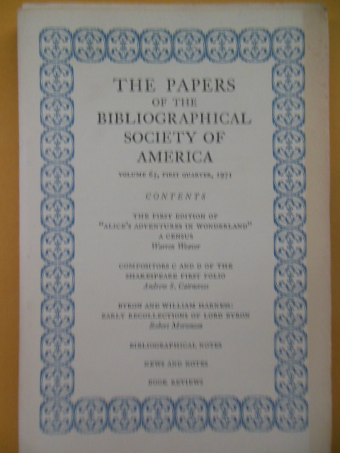 Image for The Papers of the Bibliographical Society of America 1st Quarter 1971 (Alice In Wonderland)