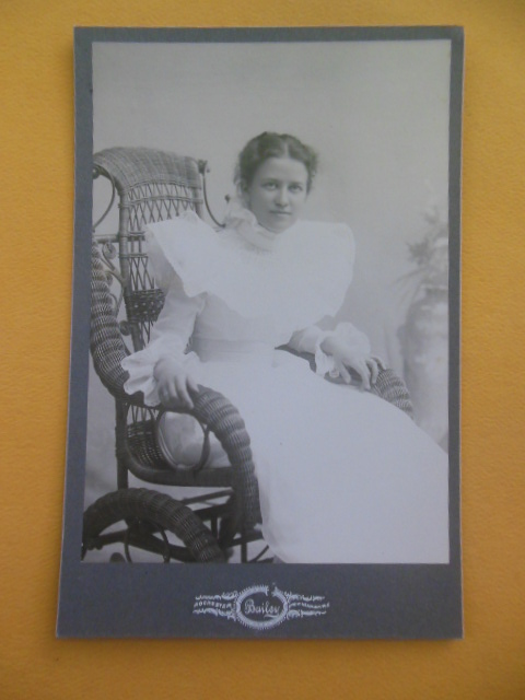 Image for Cabinet Photo Woman in Ruffled Dress in Wicker Wheelchair (Bailey, Rochester, N.Y.)