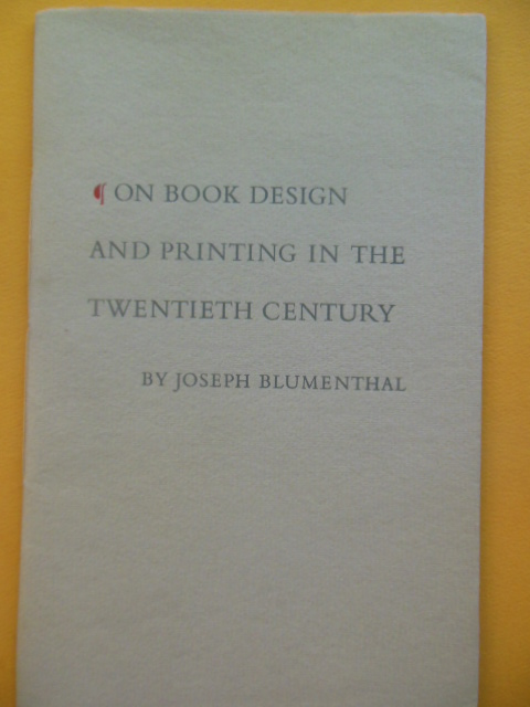 Image for On Book Design and Printing in the Twentieth Century, 1965