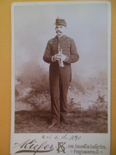 Image for Cabinet Card Musician With Horn (Portsmouth, Ohio 1890)