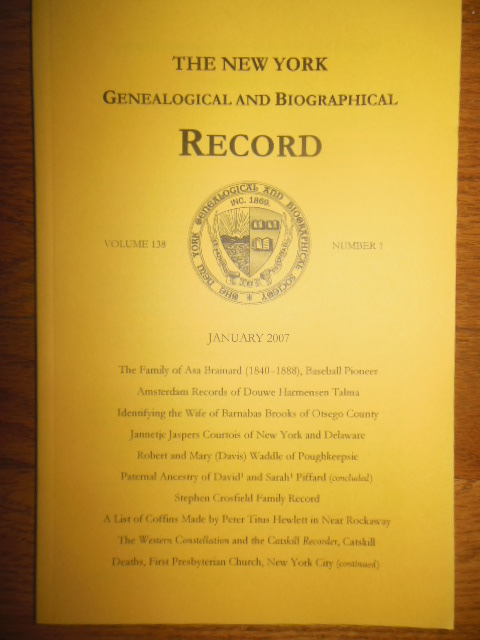 Image for The New York Genealogical and Biographical Record (January, 2007)