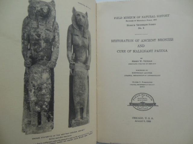 Image for Restoration of Ancient Bronzes and Cure of Malignant Patina (1930)
