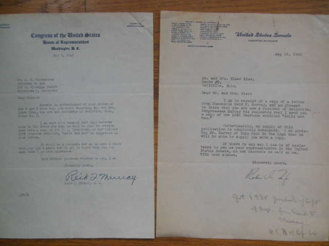Image for Letters SIGNED Senator Robert A. Taft, OH; Congressman Reid F. Murray, WI (1945)