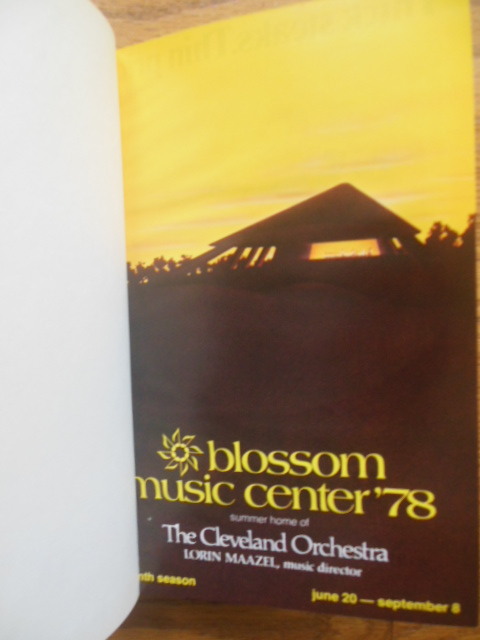 Image for Festival Book and Programs Blossom Music Center Eleventh Season 1978 Cleveland Orchestra