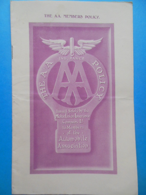Image for Automobile Association Insurance Policy 1930 (Motor Union Insurance Co. London)